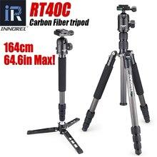 Rt40c profissional tripé de fibra carbono para câmera digital dslr leve suporte tripa alta qualidade para gopro tripode 164cm max