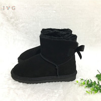 HOT Australian Style Women Mini Bailey Bow Snow Boots Winter Leather Ankle Boots Brand IVG EU35 44 free shipping