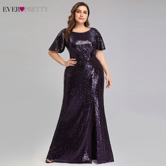 Plus Size Dark Purple Mermaid Evening Dresses Long Ever Pretty EP00928DP O-Neck Sequined Elegant Formal Dresses Robe De Soiree