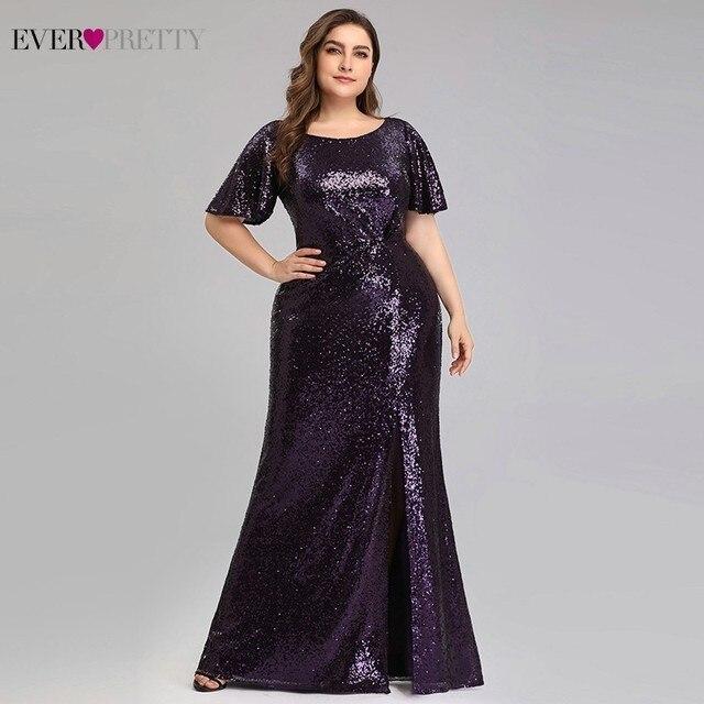 Artı boyutu koyu mor Mermaid abiye uzun hiç Pretty EP00928DP o boyun payetli zarif resmi elbiseler Robe De Soiree