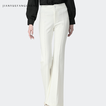 2019 Newest Mid Waisted Pleated White Boot Cut Women Pants Regular Full Length Plus Size S-4XL Slim Woven Woman Trousers