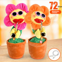 Children Kids Gags&Practical Jokes Toys Electric Plush Enchanting Flower Potted Dolls With Bluetooth Singing Dancing Saxophone