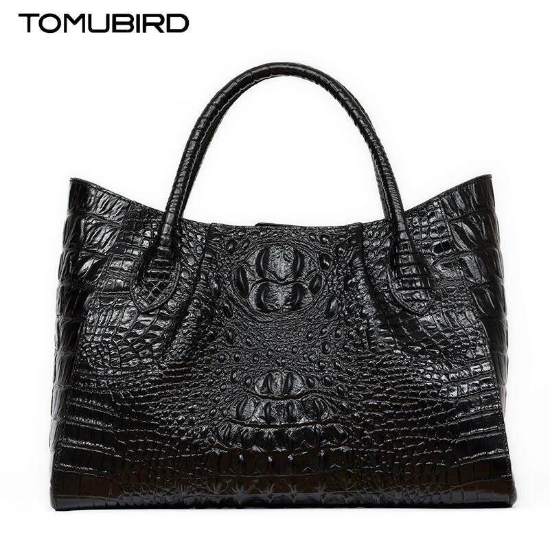 TOMUBIRD new superior cowhide leather Classic Designer Embossed Crocodile Leather Tote Handbags genuine leather bag tomubird 2017 new superior leather retro embossed designer famous brand women bag genuine leather tote handbags shoulder bag