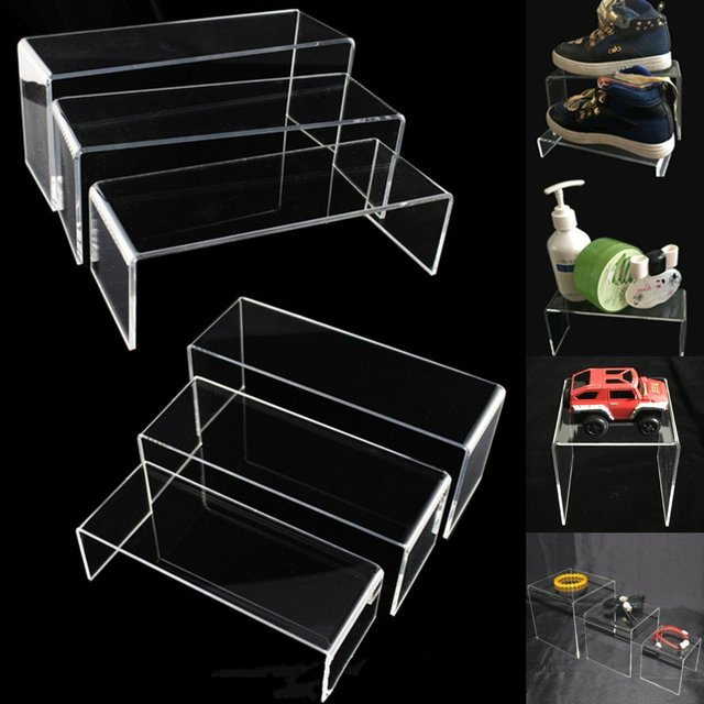 5Pcs/Set Clear Acrylic Perspex Jewellery Display Rack Riser Set Transparent  Collectibles Stand Holder Showcase