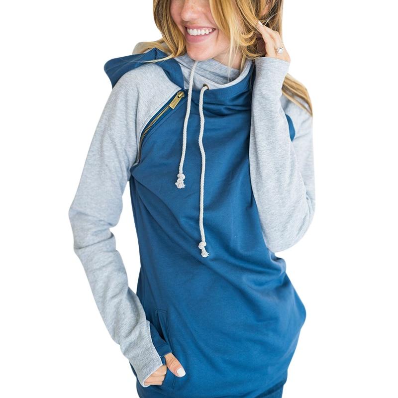 Women Autumn Hooded Sweatshirt Casual Long Sleeve Patchwork Pullovers Hoodie 2017 Women Hoodies