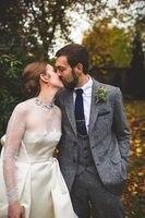 2017 Latest Coat Pant Designs Grey Tweed Wedding Suit For Men Classic Slim Fit Groom Blazer