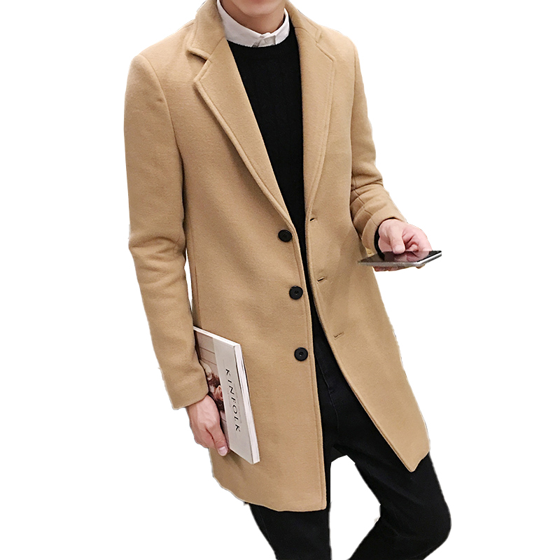 2019 New Fashion Fine Artificial Wool Cotton Leisure Long Trench Men Casual Slim Jackets Pure Color Mens Woollen Business Coat