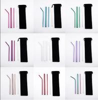 Environmentally Friendly 3pcs Stainless Drink Straws Set with carry bag +1pcs Cleaner Brush  Reusable Straw Bar Accessories|Water Bottle & Cup Accessories| |  -