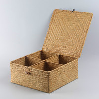 Straw Weaving Handwork With Cover Storage Boxs Basket Tea Accessories Separated Receive Stationery Tea Set Unbreakable