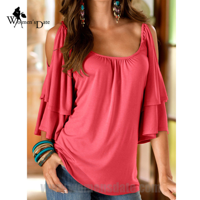 WomensDate 2016 Large Size Women's New Sexy Strapless Double Half Sleeve Round Neck T Shirt Tops Shirt Camiseta Feminina