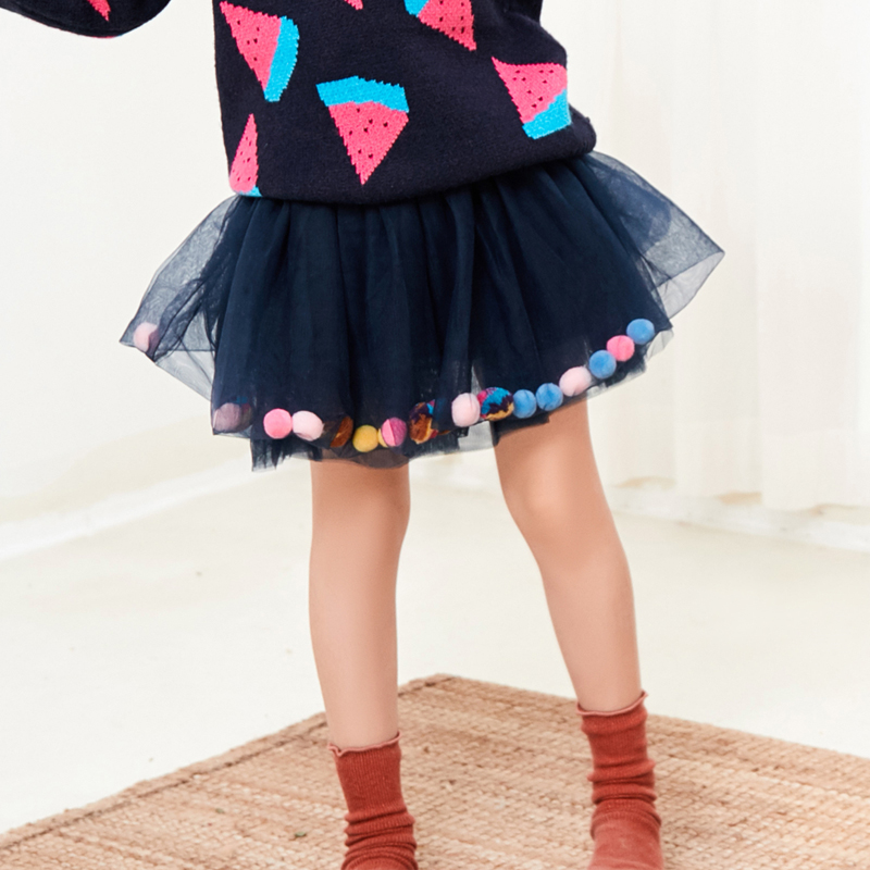 3 9 Years Baby Girls Color Hair Ball Birthday Party Skirt Autumn Winter New Children's Clothes Girls Tutu Mesh Princess Skirt