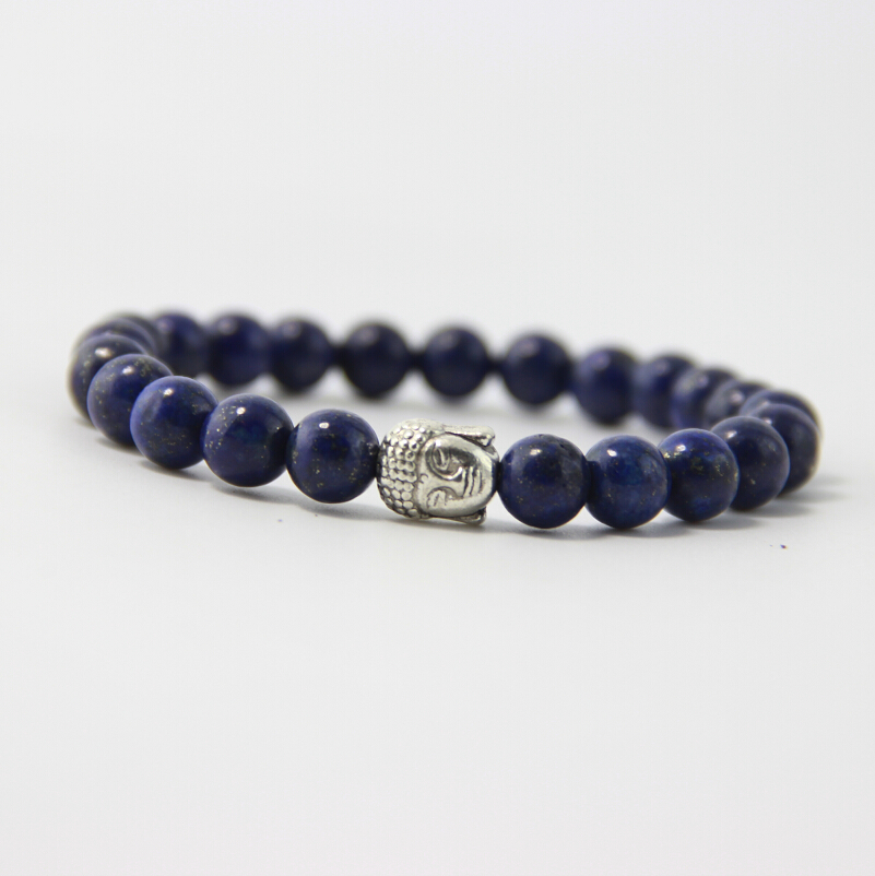 BB0111 2017 new high quality 8mm lapis lazuli bead bracelet, men and women of ancient silver Buddha head bracelet !