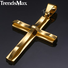 Dropshipping 2018 Cross Pendant Necklace For Men Gold Silver Black Stainless Steel Pendant Necklace Men Hip Hop Jewelry KP52(Hong Kong,China)