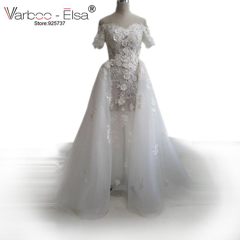 VARBOO ELSA Fabulous Long Wedding Dress 2018 Sheer Cap Sleeve Chapel Train A Line Lace Tulle