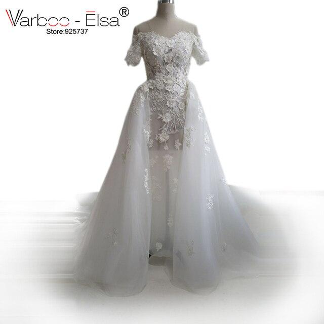 VARBOO_ELSA Fabelhafte Lange Hochzeit Kleid 2018 Sheer Flügelärmeln ...