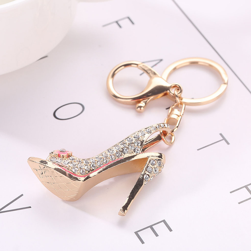 High Heel Shoe Keychain Rhinestone Crystal Purse Car Key Chain Bag Decorative Alloy Keyring