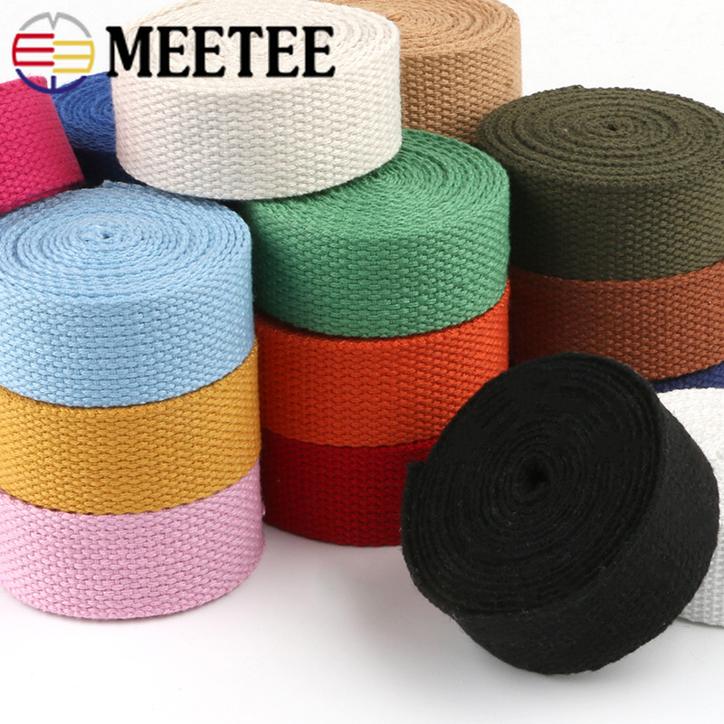Meetee 50yards 25mm Thicken 2mm Canvas Webbing Ribbon Strap For Backpack Belt Dog Collar Woven Bands Sew DIY Crafts Accessory