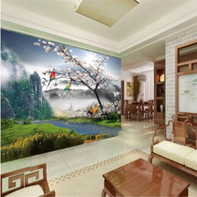 Beautiful plum tree landscape background wall professional production mural wholesale wallpaper custom photo