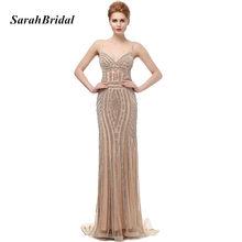 0be67692ca Szata De Soiree brokat suknie wieczorowe z kryształami Plus rozmiar długi  szampana suknie balowe piękna syrena sukienki na przyj.