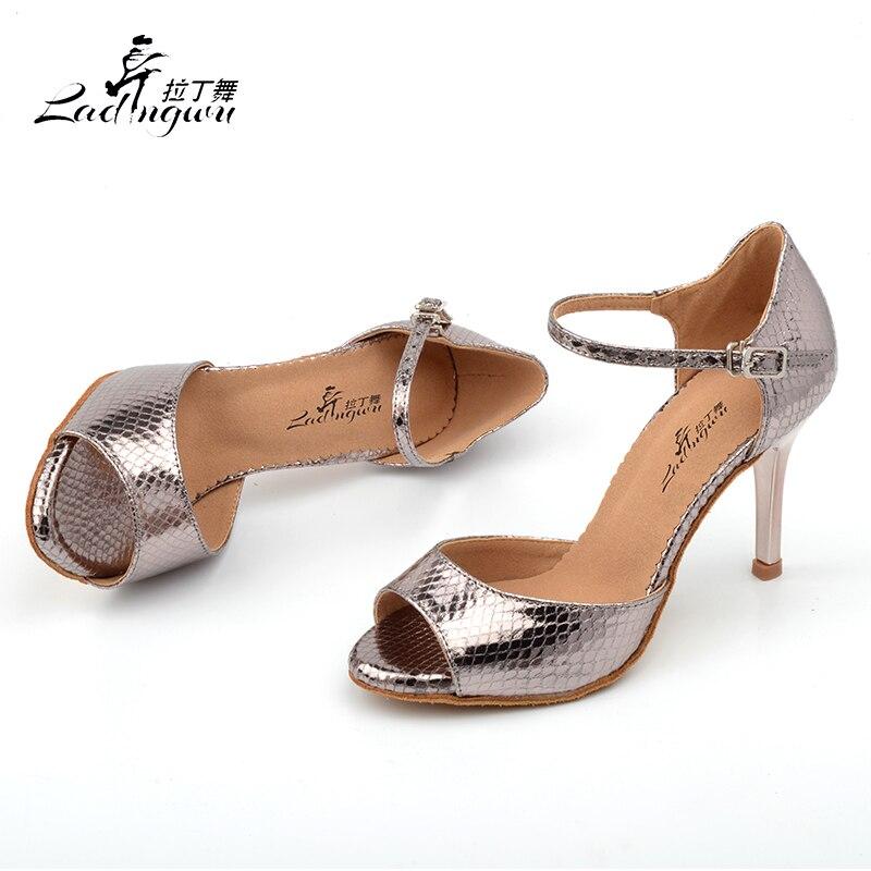 Купить с кэшбэком Ladingwu 2018 Wholesale Gray Pu Women's High Heel Shoes Party Ballroom Dance Sandals Salsa Latin Dancing Shoes Silver Heel 8.5cm