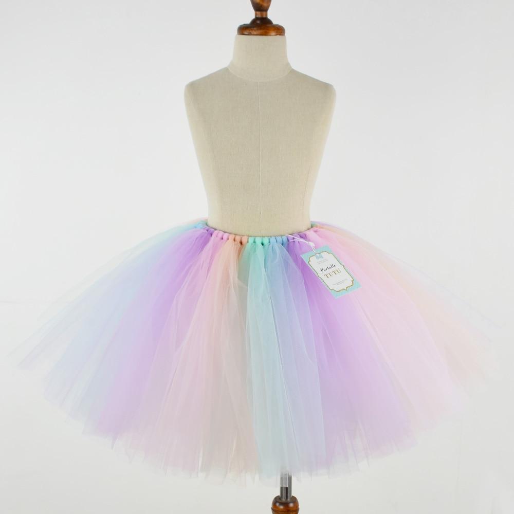 Girls Fluffy Unicorn Pastel Rainbow Tutu Skirt Baby 1st Birthday Unicorn Party Costume Cake Smash Fits Newborn to Young Girl-