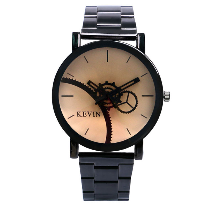 Mens Watches Top Brand Luxury Quartz-Watch KEVIN Gear Wheel Dial Clock Fashion Casual Watch Women Wristwatches Relogio Masculino