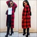 Женщины Длинные Красный Плед Тренчи 2017 Шерстяное Пальто Осень зима Теплая Смеси Повседневная О-Образным Вырезом Шерстяной Верхней Одежды Плюс Размер С карманы