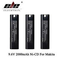ELEOPTION 3 개 9.6 볼트 2000 미리암페르하우어 충전식 배터리 교체 전원 도구 배터리 마키 9000 9001 6092D 2.0Ah 니켈-CD 블랙