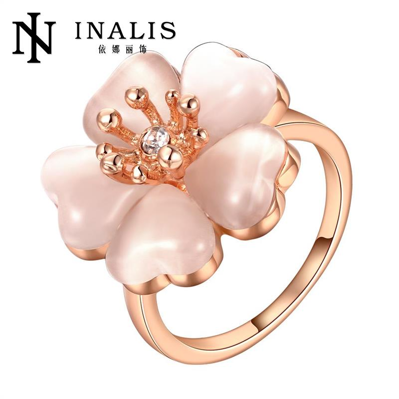 R634 White Flower Rings High Quality Gold Color Fashion Ring for Party