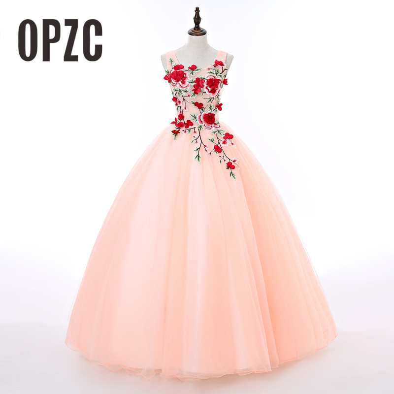 2018 Customed Size Evening Dress O-Neck Cut-out Sexy Design For Formal Activities With Festival Red Flowers Colorful Sweet Gown