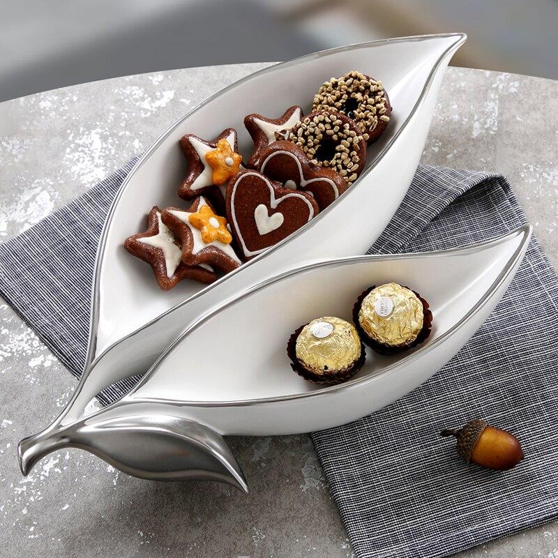 Mode céramique feuille plaque décorative porcelaine assortie plateau vaisselle ornement cadeau artisanat pour bonbons, Fruits et chocolat