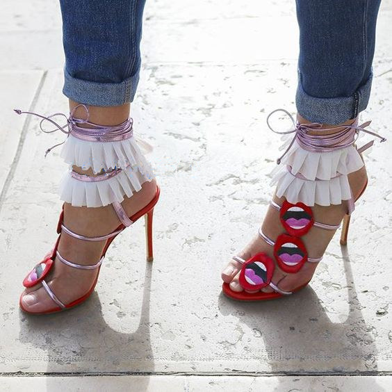 016129e5956e Sestito Lady Sexy Red Lips Embellished High Heels Summer Gladiator Sandals  Woman Peep Toe Lace-up Mixed Colors Slingback Shoes