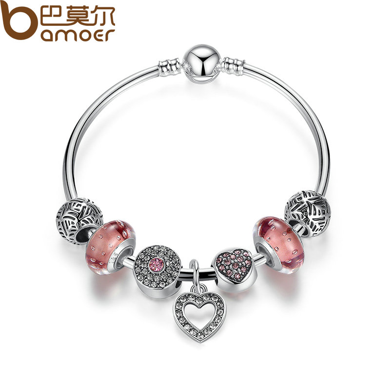 font b BAMOER b font Simple Friendship Bracelets Silver Plated Heart Pendant Bracelets with European