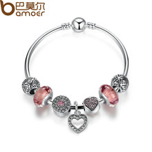 BAMOER Simple Friendship Bracelets Silver Plated Heart Pendant Bracelets with European Beads Girl Bracelet Jewelry PA3805