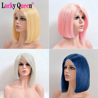613 Blonde Bob Lace Front Wig Pre Plucked Human Hair Bob Wigs Remy Brazilian Straight Wig Pink/Blue/Grey Colors Available