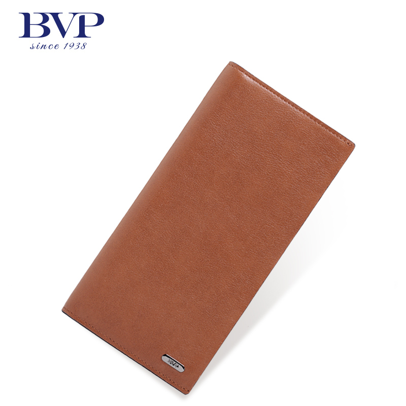BVP - High-end 100% Top Grain Cowhide Brand Bifold Leather Slim Dress Long Wallets Men Purse Credit Cards Organizer Holder J25 bvp luxury brand weave plain top grain cowhide leather designer daily men long wallets purse money organizer j50