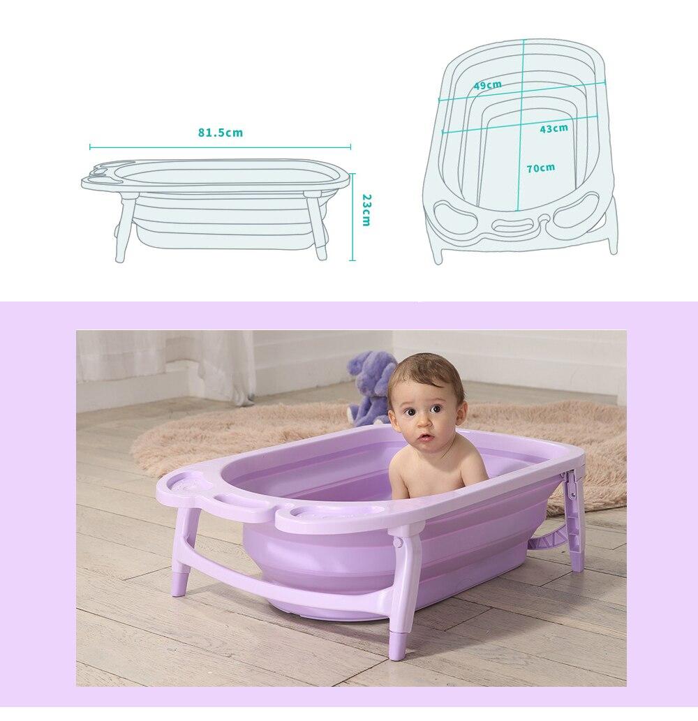 3 Colors Portable Folding Baby Bath Tub Large Size Anti Slip Bottom ...