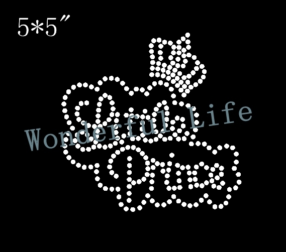Wonderful life free shipping princess crown white image 4PCS lot Rhinestone  Transfer Iron On Hotfix Image Design in nice words ca822a833aa6