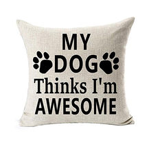 Christmas Cushion Cover Christmas Decorative Best Dog Lover Gifts Cotton Linen Throw Pillow Case Cushion Bulldog Pillowcase(China)