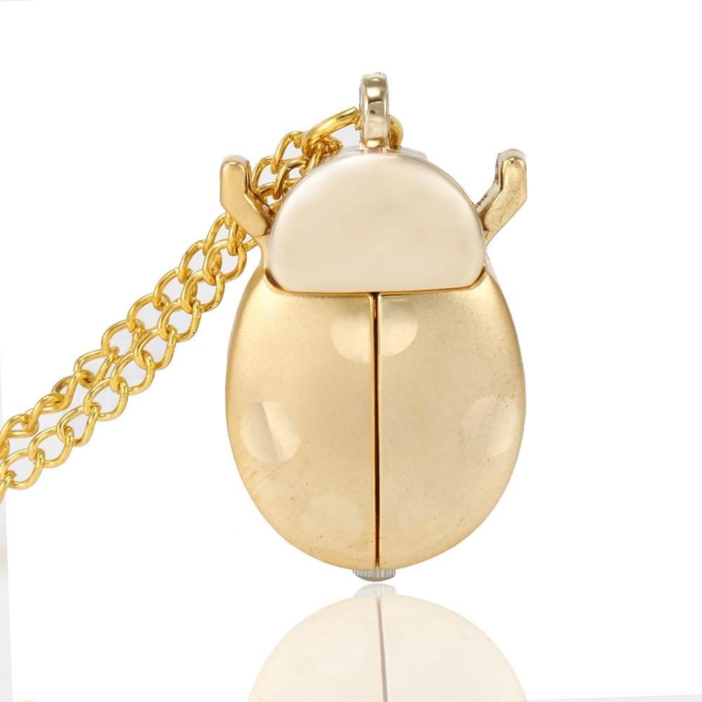 Retro Gold Cute Beetle Quartz Pocket Watch Mechanical Pendant Necklace Chain Clock Gifts FDC99