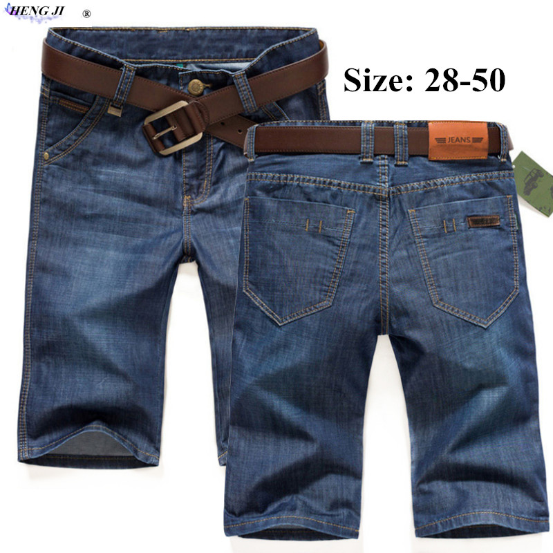 Mens summer thin jeans shorts, water wash, cat beard, five-point straight tube slim trousers, high quality, free shipping
