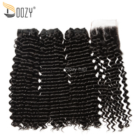 Doozy Natural Color Brazilian Virgin Hair Deep Wave Super Double Drawn Funmi Virgin Human Hair 3 Bundles With Lace Closure
