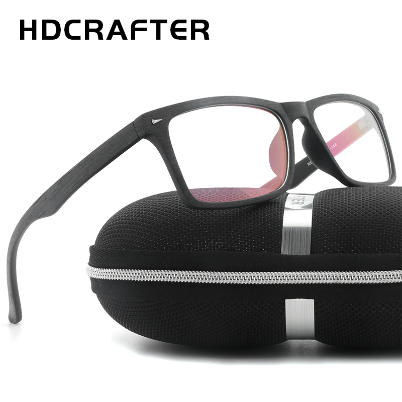 HDCRAFTER Retro Frame Glasses women Eyewear Unisex Wooden Pattern Optical Spectacle Eyeglasses for man