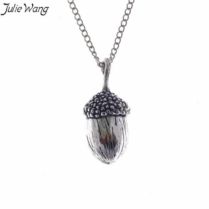 Julie Wang 1PC Antique Silver Color 3D Vivid Acorn Oak Nut Pendant Necklace Fashion Women Long Jewelry 80cm Metal Link Chain