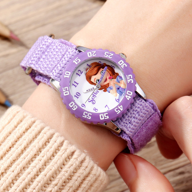 Original Disney Brand Children Girls Canvas Watches Quartz Cartoon Frozen Sofia