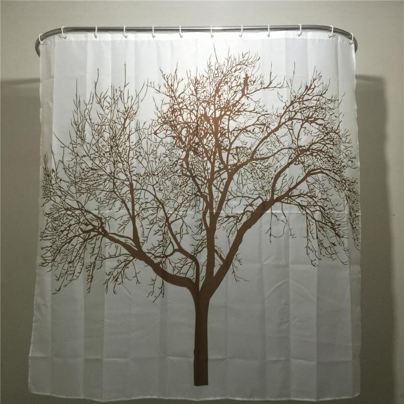 Creative Home Decor Polyester Brown Tree Waterproof Shower Curtain Bathroom 180 180CM