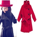 girls wool winter coats 2016 fashion high-grade warm girl winter outwear red grey purple children's costumes free shipping
