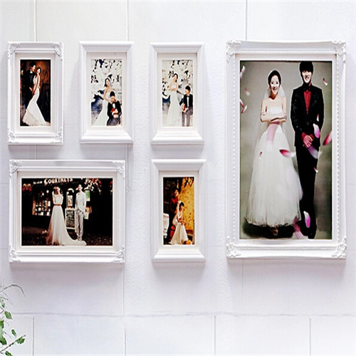 6pcs Set Pure White Wood Picture Frames Home Decor Wall Photo Frame Creative Combination Wedding Porta Retrato In From Garden On