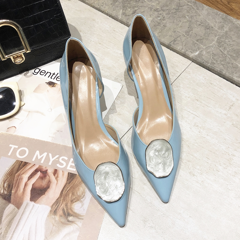 Elegant Women Pumps Pointed Toe Women Office Shoes Slip-on Blue High Thin Heel Party Wedding Ladies Shoes Sapato Feminino
