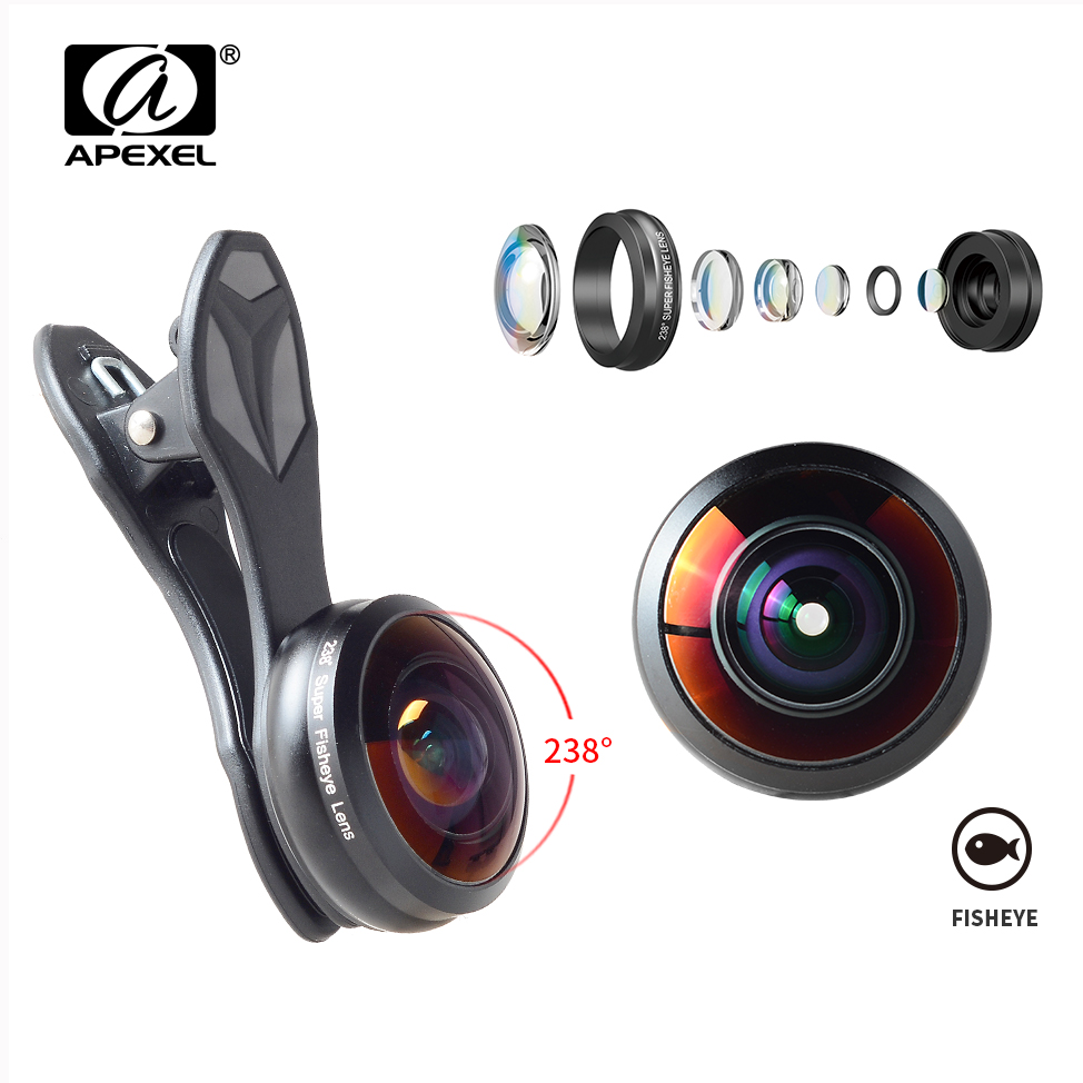 APEXEL 238 Degree Fish Eye Phone Lens For iPhone Samsung S7 S8 Xiaomi Detachable Wide Angle HD Camera Lenses High Quality Glass